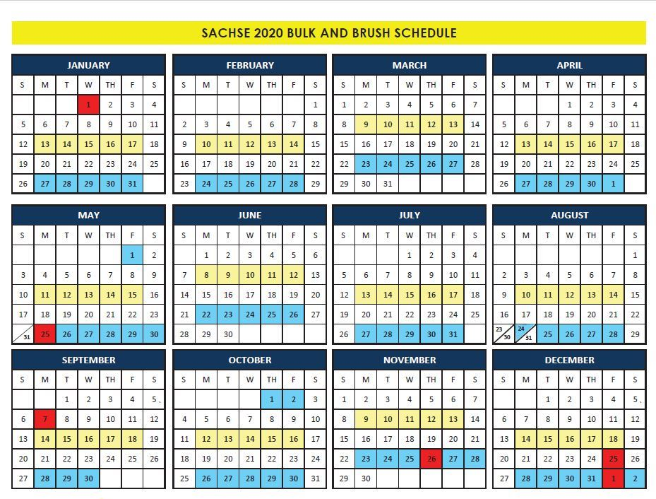 Sachse 2020 Bulk Collection Calendar