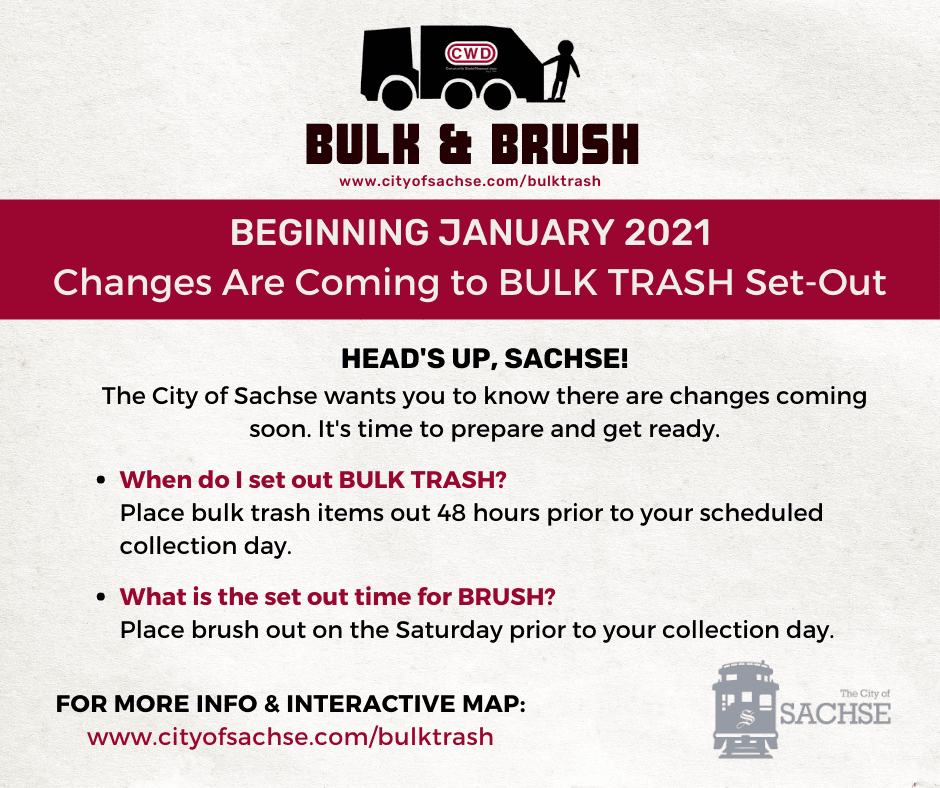 Bulk and Brush ONE Set Out times