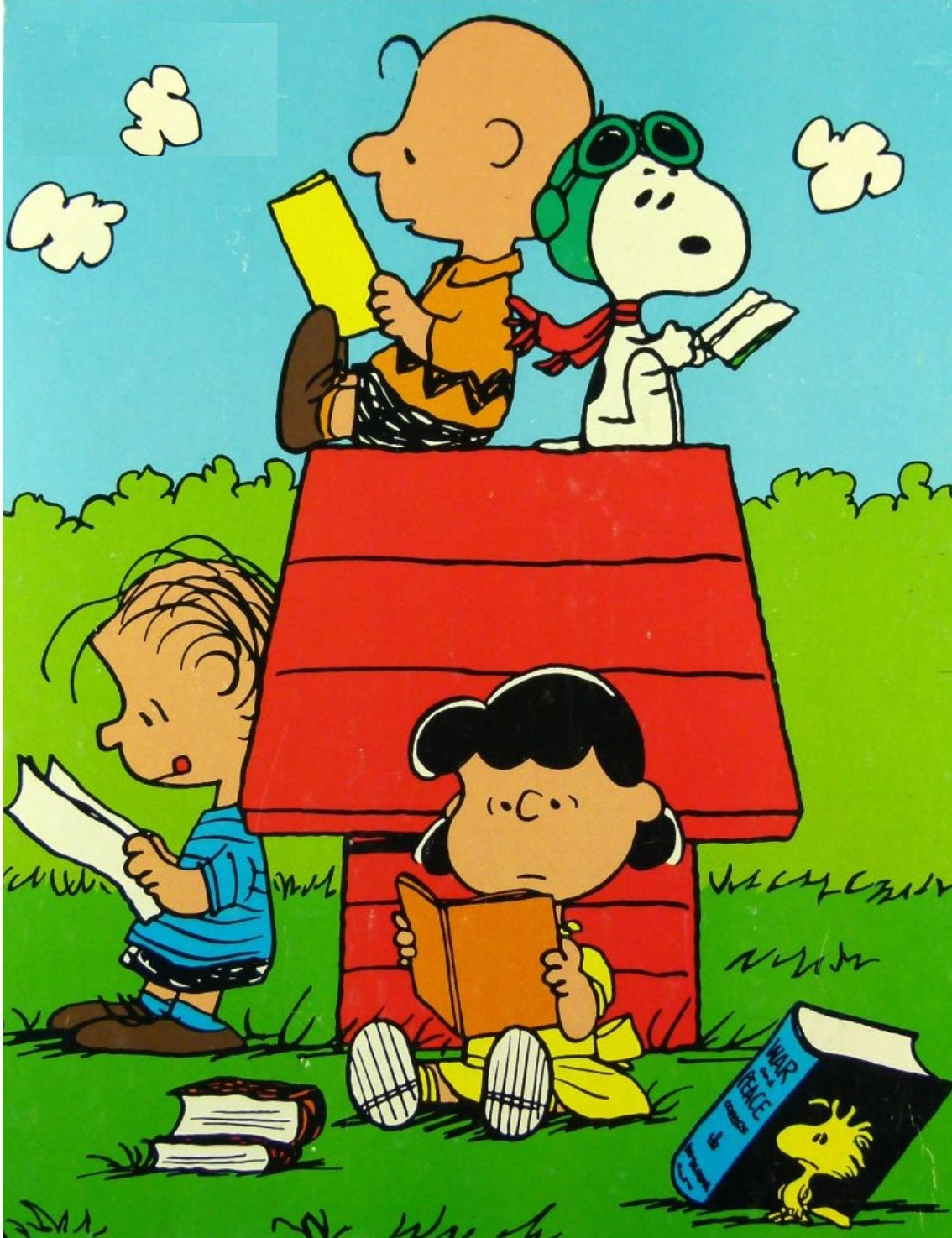 Peanuts Gang Reading with Snoopy